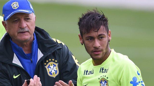Brazil coach Luiz Felipe Scolari and forward Neymar in training