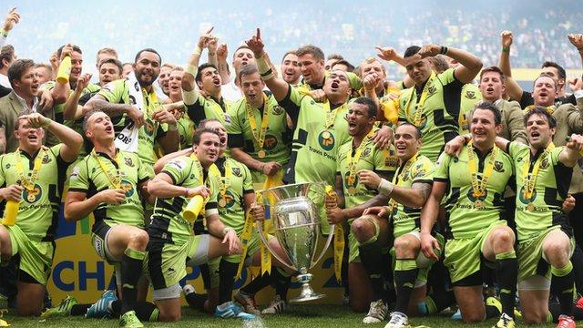Northampton Saints celebrate with Premiership trophy