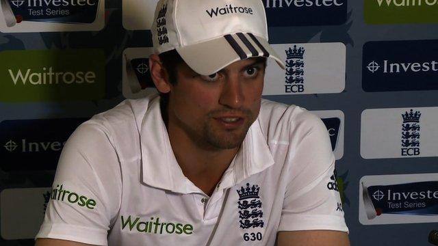 Alastair Cook talks to the press ahead of England v Sri Lanka