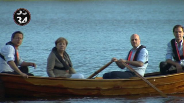 Political leaders in a boat