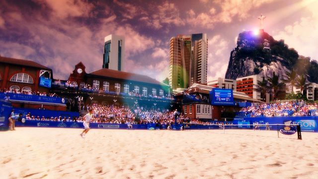A scene from Copacabana beach superimposed on Andy Murray playing at Queen's Club