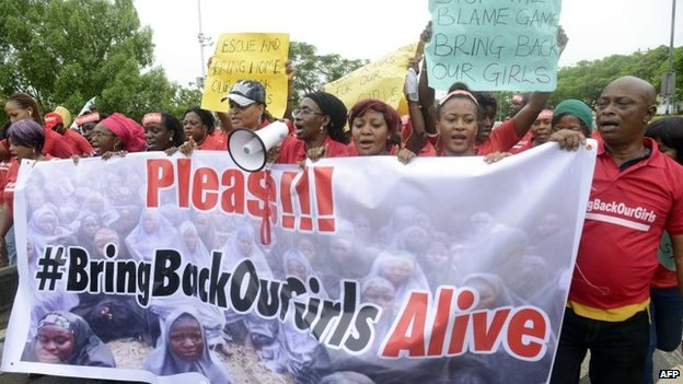 Protesters calling for the schoolgirls to be released