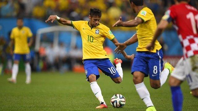 Watch Neymar score Brazil's first goal of the 2014 World Cup