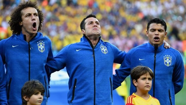 David Luiz, Julio Cesar and Thiago Silva sing the Brazilian national anthem