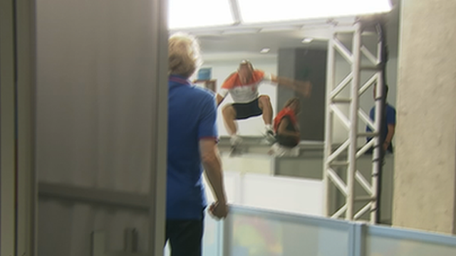 Robben takes an acrobatic airport short-cut