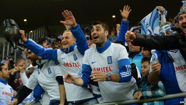 Greek fans at World Cup playoff against Romania, 19 Nov 13