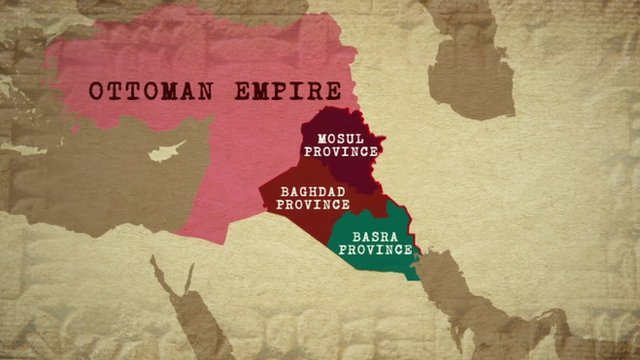 Map showing Ottoman Empire-era map of Middle East