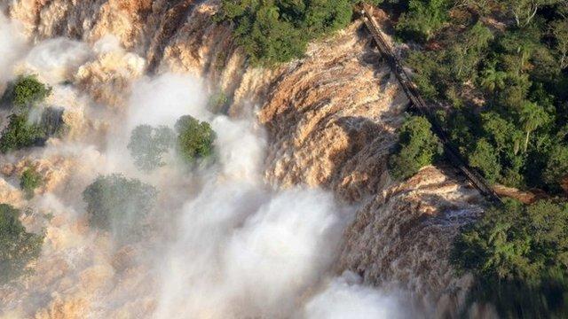 Aerial shot of Iguazu Falls