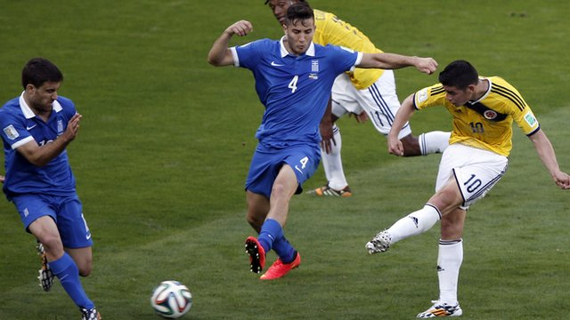 James Rodriguez scores Colombia's third goal against Greece