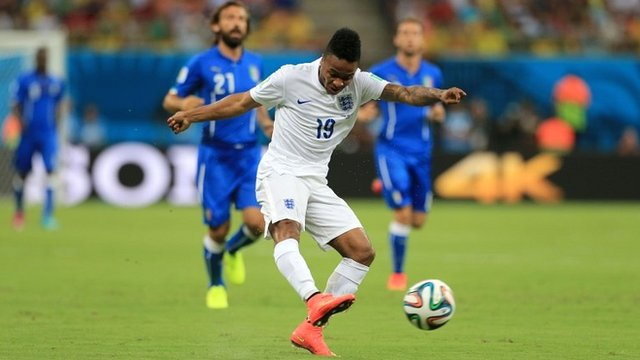 Raheem Sterling's shot for England which hits the side netting