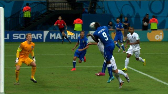 Italy's Mario Balotielli scores against England