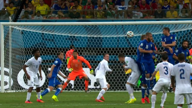 England's Leighton Baines fires in a free kick