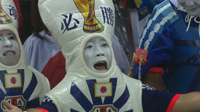 Japan fans in fancy dress