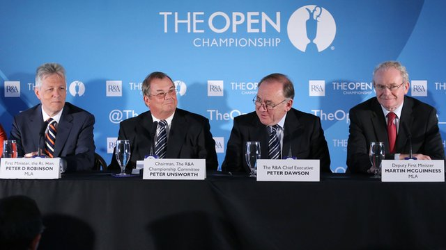 Northern Ireland First Minister Peter Robinson and Deputy First Minister Martin McGuinness with R&A chief executive Peter Dawson and Open Championship committee chairman Peter Unsworth at Monday's announcement