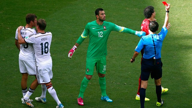 World Cup 2014: Portugal's Pepe is shown a red card