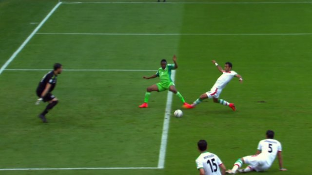 Nigeria's Ahmed Musa stretches out for the ball