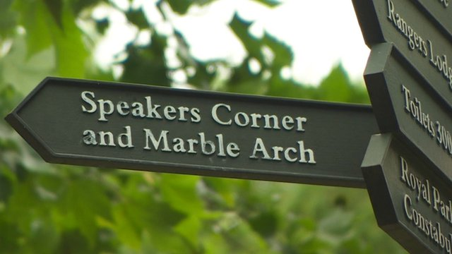 A sign for Speakers' Corner
