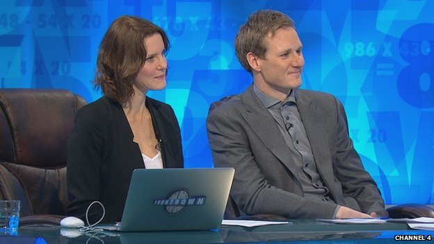 Susie Dent with BBC presenter Dan Walker on Countdown