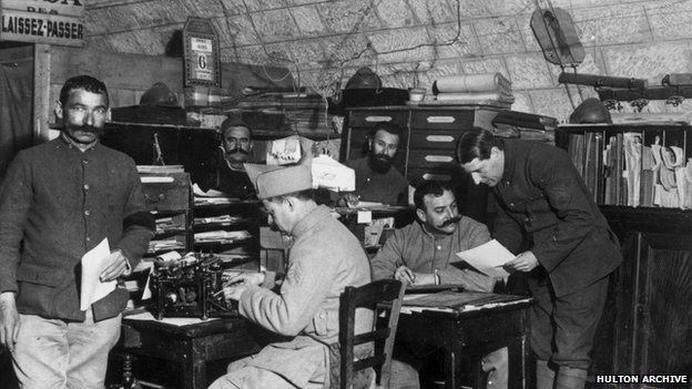 Telegraph equipment being used in 1914