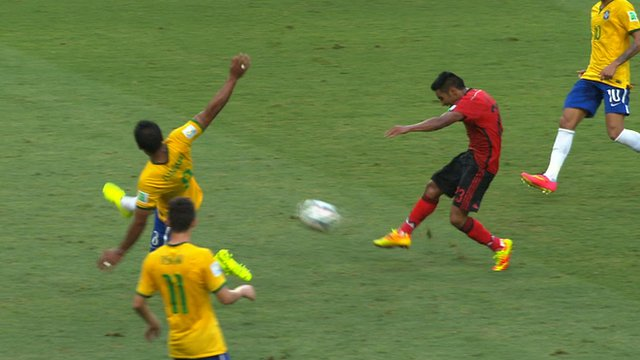 Jose Vasquez goes close from range for Mexico