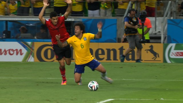 Brazil's Marcelo dives against Mexico