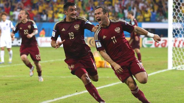 Alexander Kerzhakov scores for Russia against South Korea