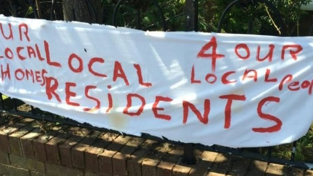 Banners were put up outside the house