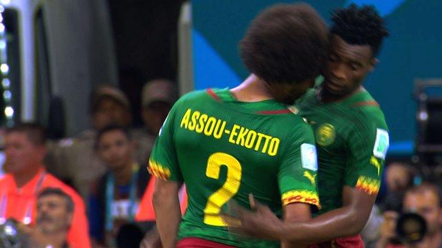 Cameroon team-mates Benoit Assou-Ekotto and Ben Moukandjo square up to each other