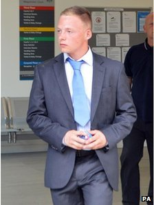 """George Chittock leaves after giving evidence at Chelmsford Magistrates"""" Court, Chelmsford,"""