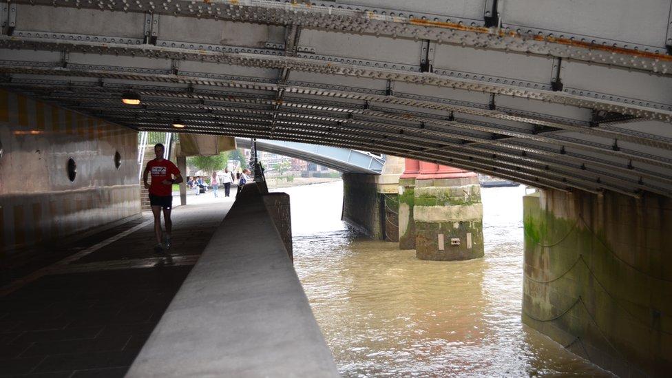 Underneath a bridge