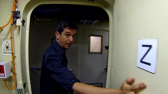 The BBC's Matthew Price on board the Bergamini frigate