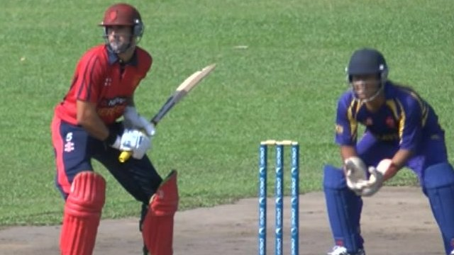 Jersey's Peter Gough batting against Malaysia
