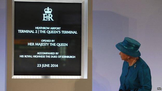 Queen Elizabeth II at Heathrow Terminal 2