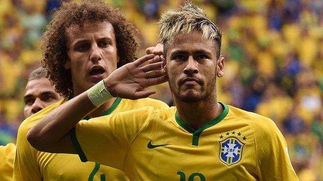 Brazil's Neymar celebrates scoring the 100th goal of the tournament