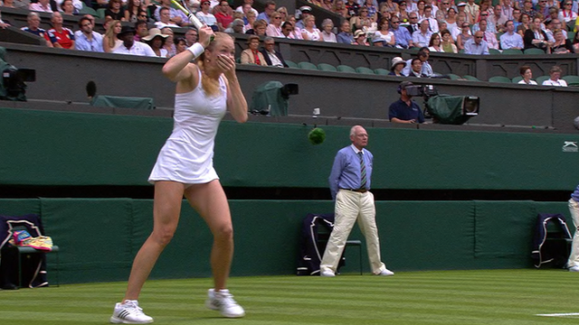 Israel's Julia Glushko looks stunned after hitting the umpire