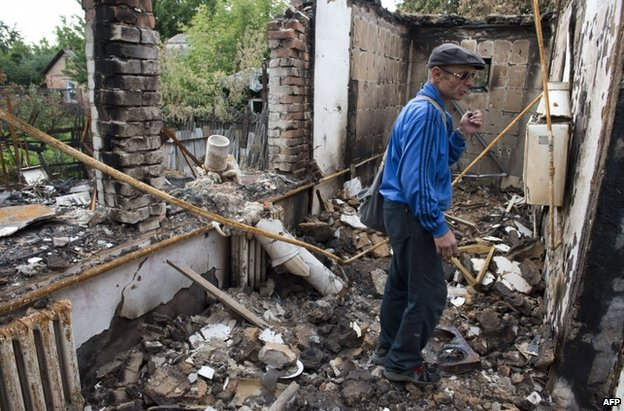 Shell damage in Sloviansk, Ukraine, 24 June