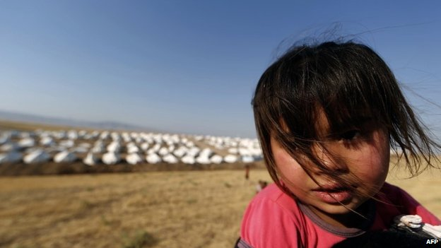 A girl at a camp for displaced Turkmen in the northern Iraqi province of Dohuk