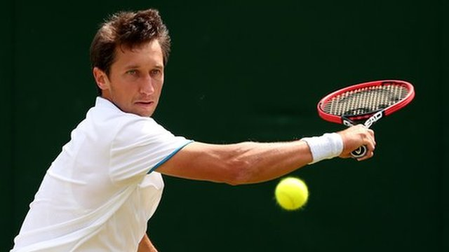 Ukraine's Sergiy Stakhovsky in action at Wimbledon