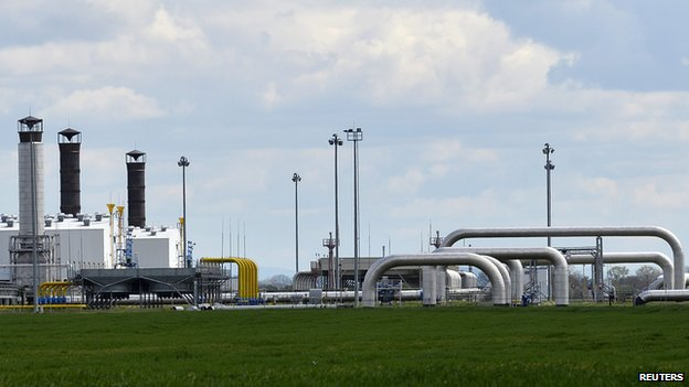 Gas pipelines at Velke Kapusany, eastern Slovakia