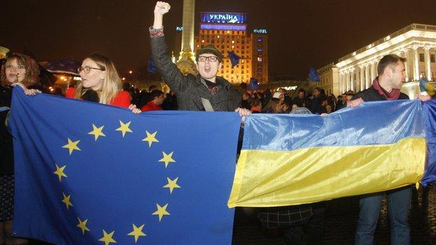 Kiev demonstrators with EU and Ukrainian flags - file pic