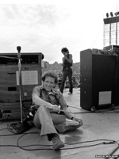 Baron Wolman and Carlos Santana at Woodstock