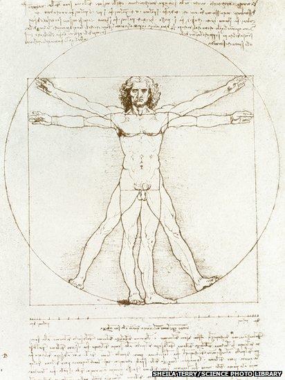 Study of man's movements by Leonardo da Vinci