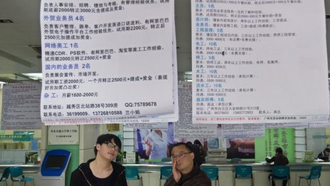 Recruitment advertisements at a labour market in Guangzhou, June 2014
