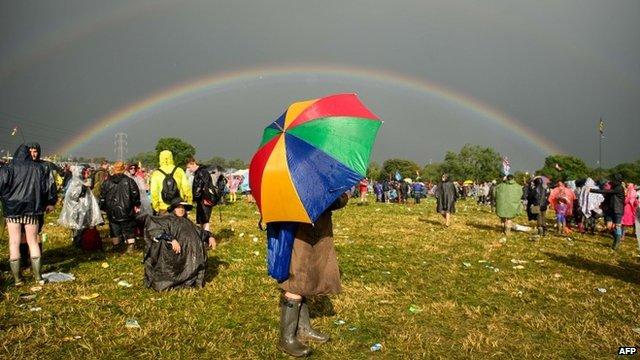 Rainbow appears over Glastonbury Festival site