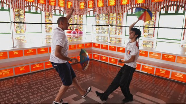 BBC Sport's Jason Mohammad gets a lesson in frevo dancing in the Brazilian city of Recife