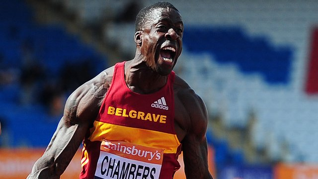 Dwain Chambers wins his fifth consecutive British 100m title