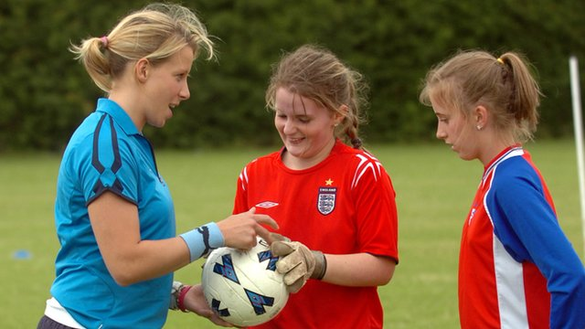 Coach with two young footballers