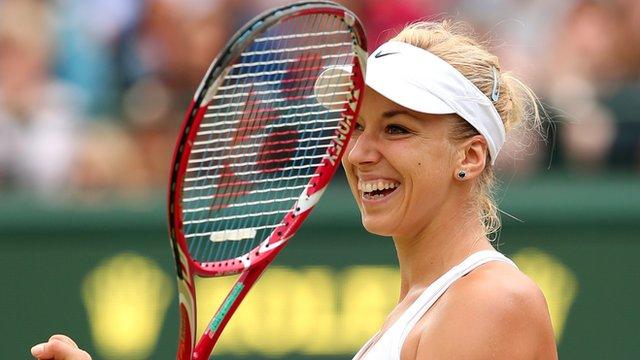 Sabine Lisicki celebrates third round win at Wimbledon