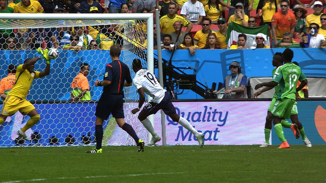 Vincent Enyeama pulls off a superb save from a Paul Pogba volley