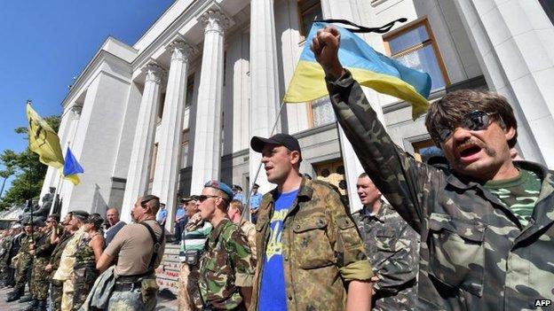 Protesters in Kiev, 1 July